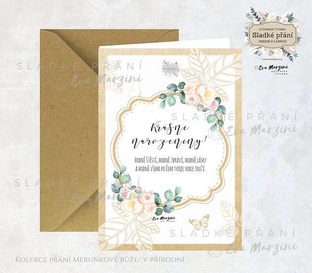 Otevírací přání k narozeninám s maeruňkovými růžemi a eukalyptem