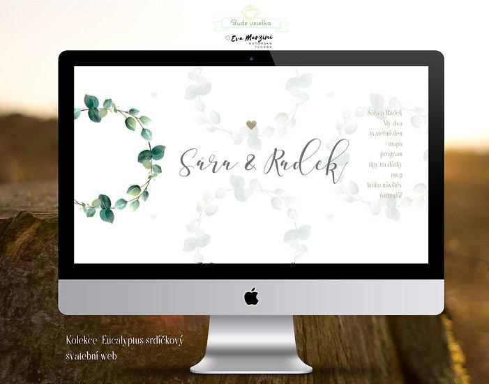 Svatební web s lístky eucalyptu srdíčkového v bílé pro přírodní a vintage svatby.