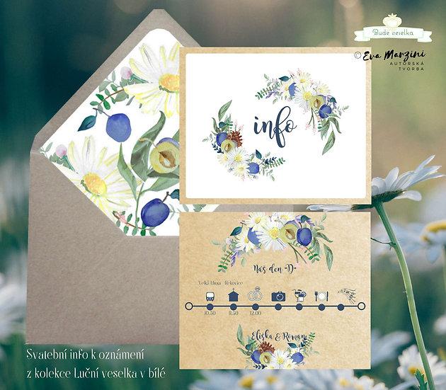 Svatební info Luční veselka, bílé - 120x170 - tištěné