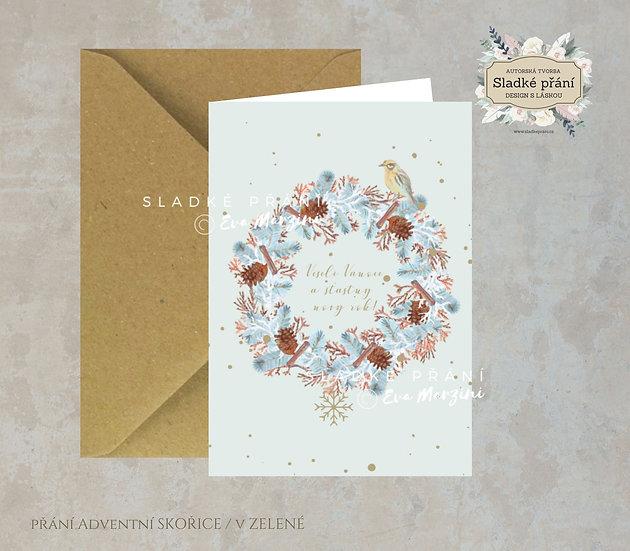 Vánoční přání Adventní skořice, v zelené - 240x170 - tištěné