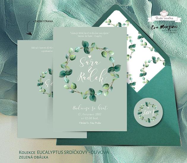 Svatební oznámení Eucalyptus srdíčkový, v olivové - 120x170 - tištěné