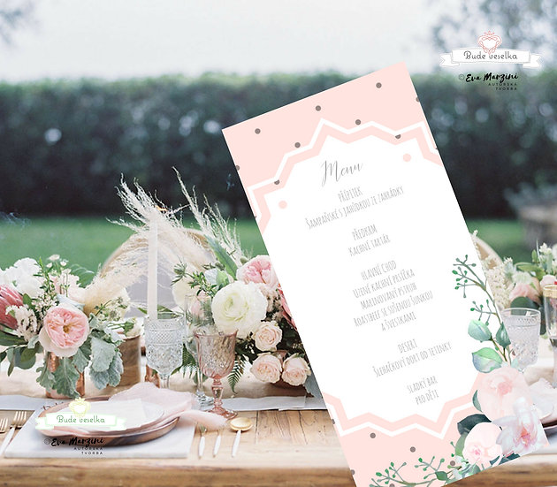 Svatební menu Pivoňky Blush, v bílé, 99 mm x 210 mm tištěné