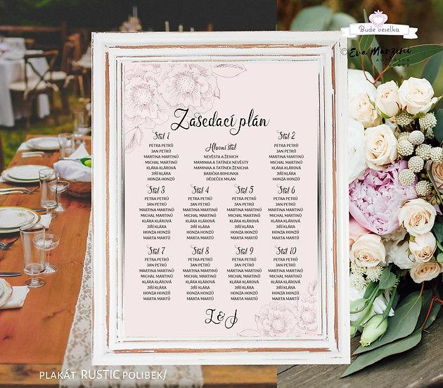 Plakát Zasedací plán Rustic polibek, A3 - pudr - tištěný