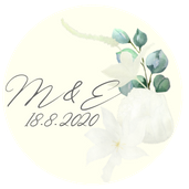 Kulaté nálepky Bílá sláva, v ivory, 72 ks /45 mm