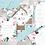 Thumbnail: Jmenovky ke stolu Šípkové růže - tyrkys a bílá, 90x50/100mm tištěné
