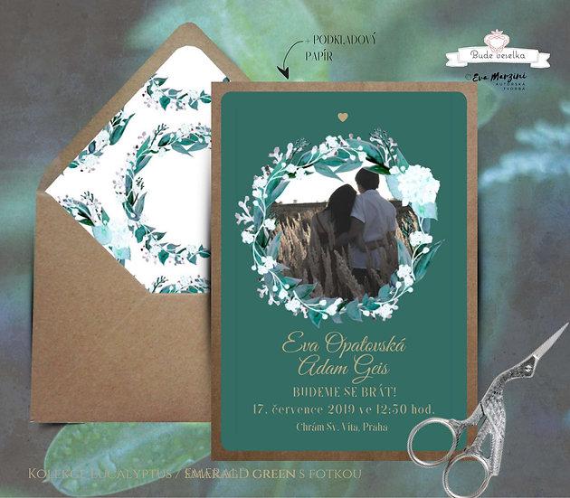 Svatební oznámení Eucalyptus s fotkou, emerald green - 120x170 - tištěné