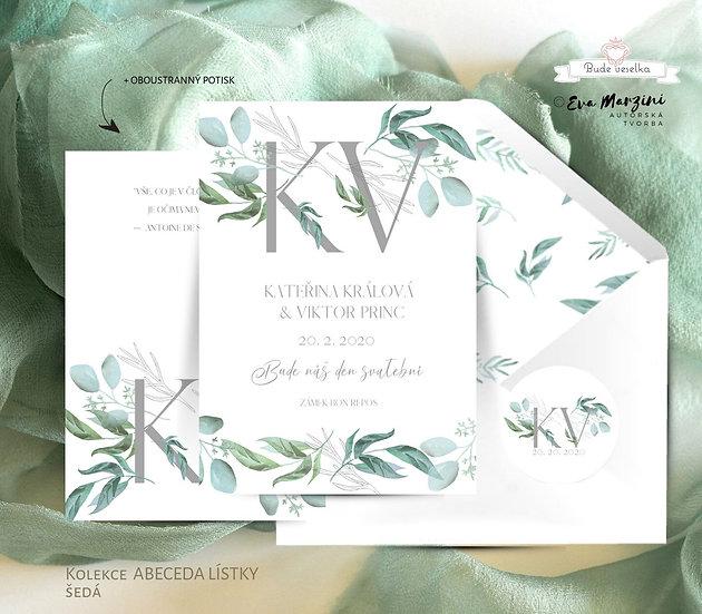 Svatební oznámení šedé s monogramy a zelenými lístky tištěné na bílém papíru, lze přidat krajku, ve stylu rustikál