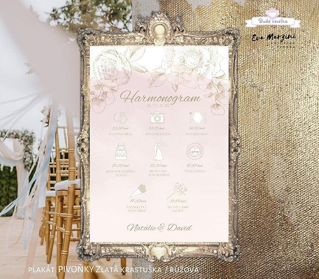 Plakát Harmonogram Zlatá Krasotužka, A3 - pudr rose - tištěný