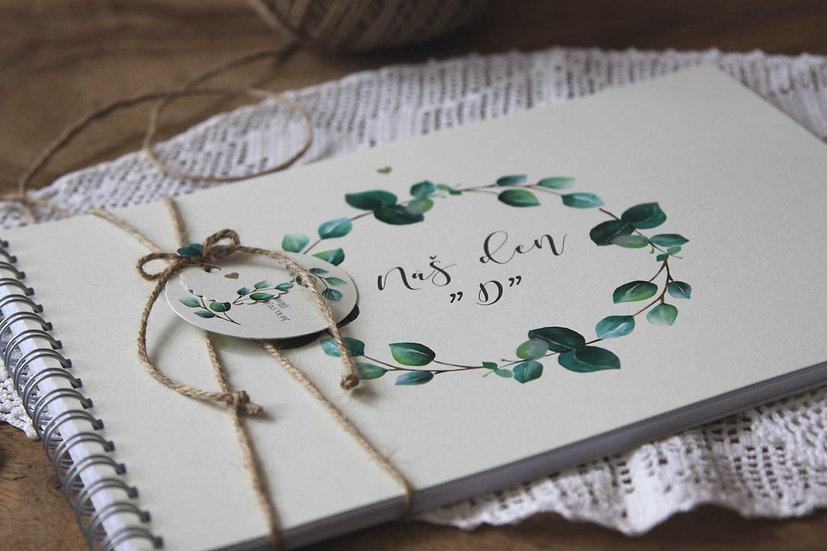 Kniha přání hostů Eucalyptus srdíčkový, krémová 297x210, tištěná