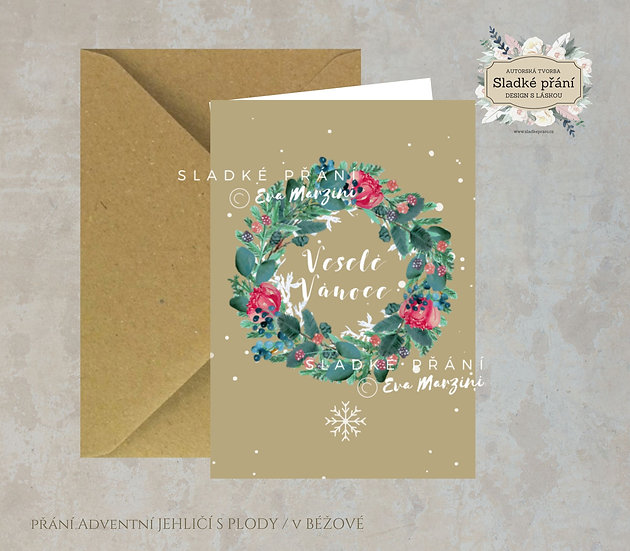 Vánoční přání Adventní Jehličí s plody, ve zlaté - 240x170 - tištěné