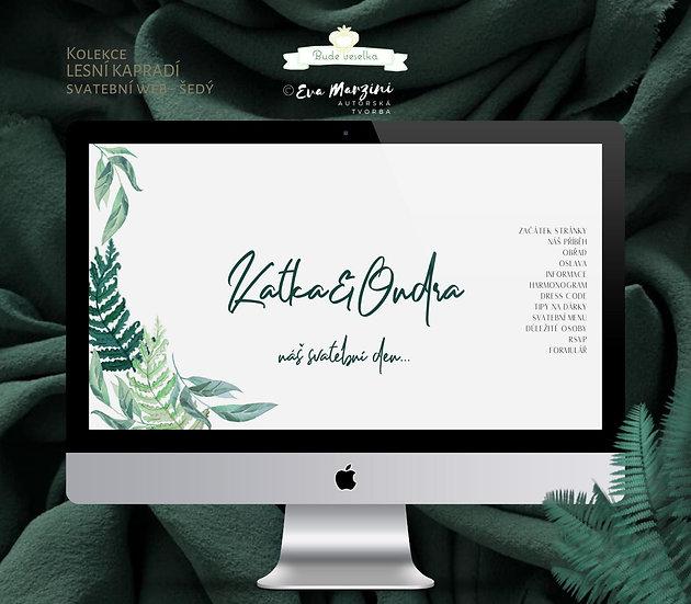 Svatební web Lesní kapradí, šedá