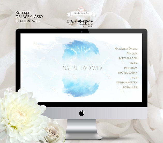 Svatební web s obláčkem v blankytné modré pro svatby ve stylu kaligrafic nebo vintage
