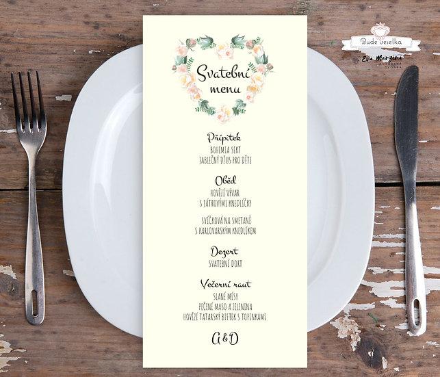 Svatební menu Srdíčko z růží 99x210 mm, krémové - tištěné