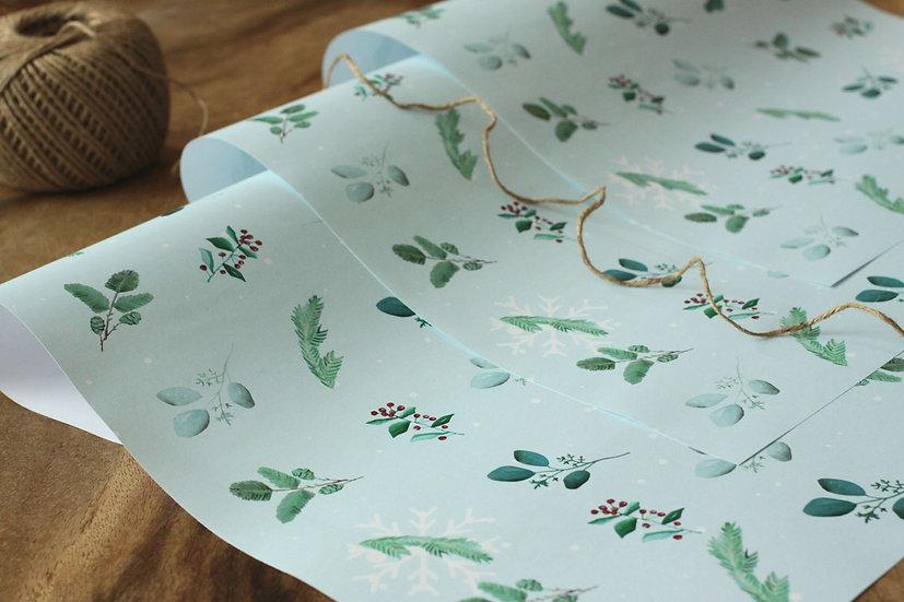 Dárkový balící papír Burford Holly, blankytně modrý
