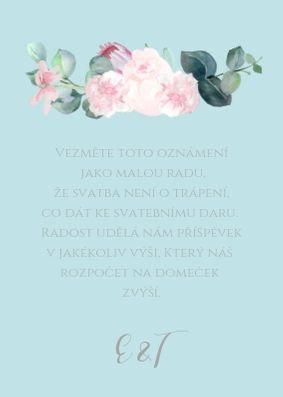 Kartička na dary ke stolu Šípkové růže - tyrkysová, 75x105 mm tiš