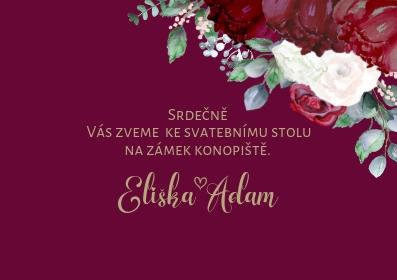 Svatební pozvánky Burgundy Polka No3. - vínové, 75x105 mm