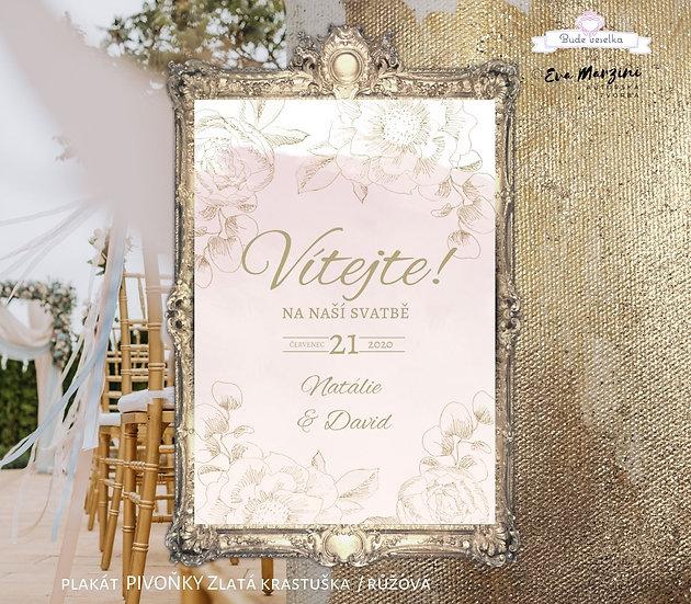 Plakát Vítejte Zlatá Krasotužka, A3 - pudr rose - tištěný