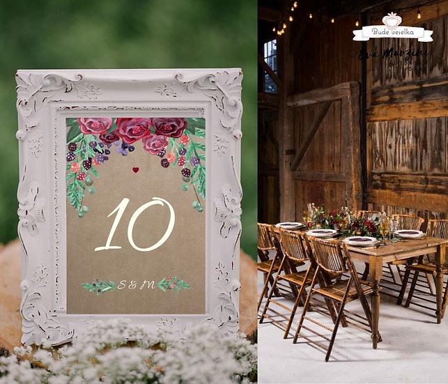 Čísla 1-10 na stoly Burgundy plody No.2