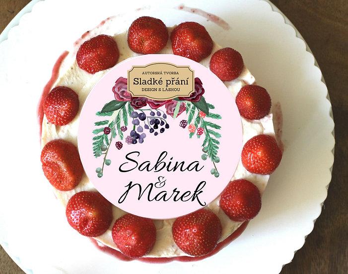 Jedlé blahopřání na dort - Burgundy plody, No.1