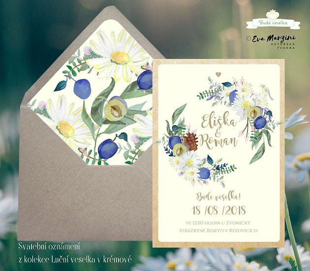 Svatební oznámení v ivory s lučními květy, kopretinami, jetelem a švestkami na luční veselku ve stylech boho a rustic vintage