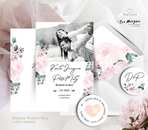 Svatební oznámení Pivoňky s fotkou, v bílé a pudrové barvě v kaligrafickém, boho, vintage a rustik stylu.