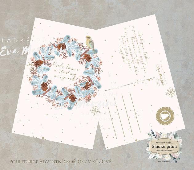 3ks Vánoční pohled Adventní skořice, v růžové - 120x170 - tištěné