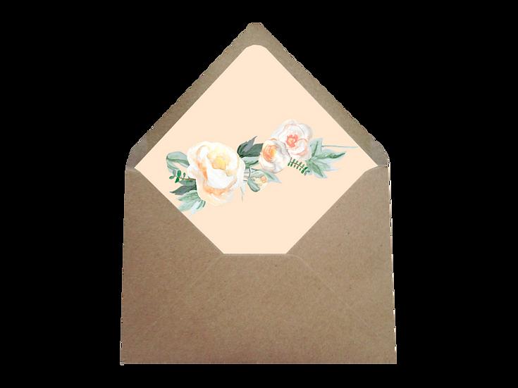 Obálka C6+ kraftová písková - s vkladem Srdce z růží, meruňkový vklad
