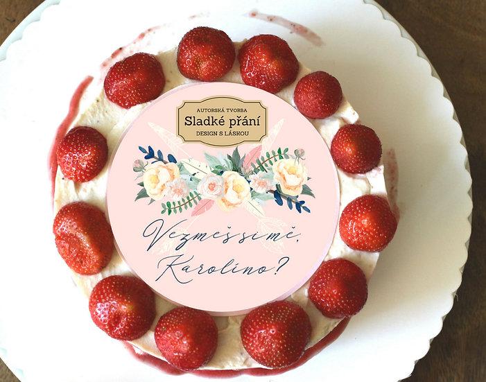 Jedlé blahopřání na dort - Boho růže, No.1