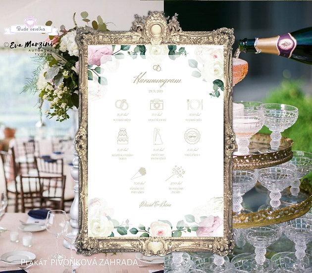 Plakát Harmonogram Pivoňková zahrada, bílá A3