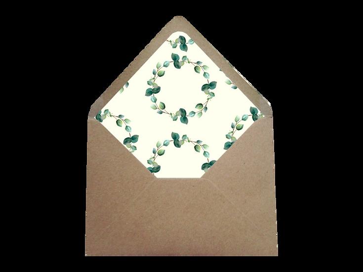 Obálka C6+ kraftová písková - s krém. vkladem Eucalyptus srdíčkový No.2