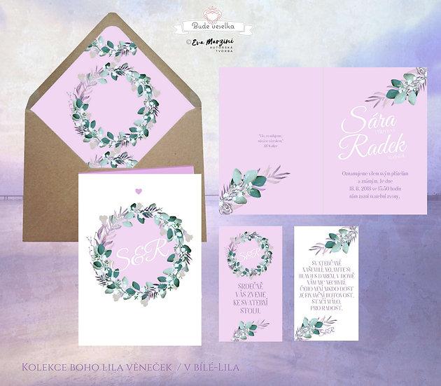 Svatební oznámení otevírací růžové s věnečkem s fialovými lesními plody, bobulemi a s lístky, boho vintage a rustikál