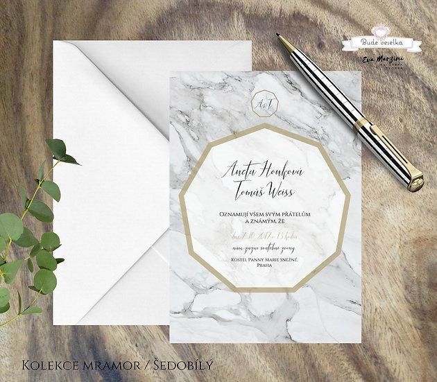 Svatební oznámení s geometrickým motivem, v barvě bílého mramoru a zlatým rámováním a písmem, ve stylech vintage
