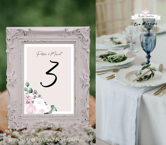Čísla 1-10 na stoly Pivoňky No.3, cappuccino