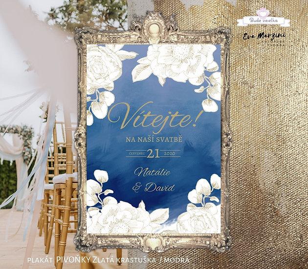 Plakát Vítejte Zlatá Krasotužka, A3 - modrá - tištěný
