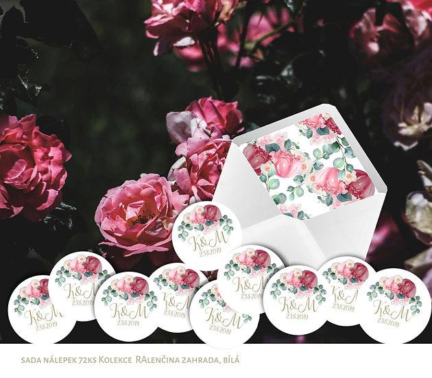 Kulaté nálepky Alenčina zahrada, bílá, 72 ks /45 mm