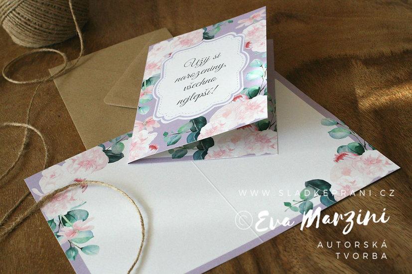 Otevírací narozeninové přání se šípkovými růžemi v lila, ve stylech boho, vintage a rustical