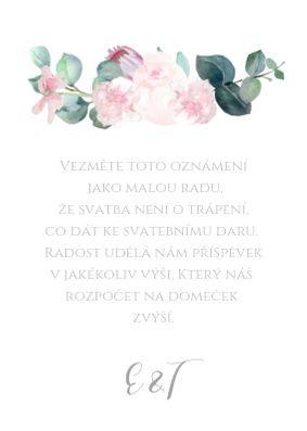 kartička na dary ke stolu Šípkové růže - přírodní a bílá, 75x105 mm tiš