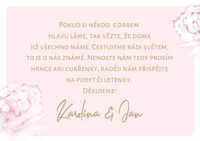 Kartičky na dary Pivoňky ve zlaté kaligrafii, pudr rose 75x105 mm