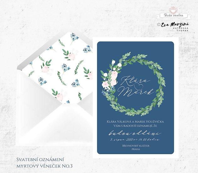 Svatební oznámení s motivem věnečku z lístků myrty v navy (námořní) modré ve stylech boho vintage a rustic