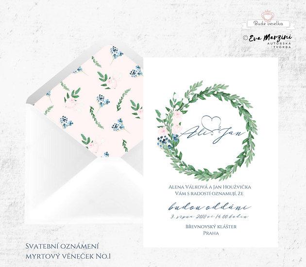 Svatební oznámení s motivem věnečku z lístků myrty v bílé ve stylech boho vintage a rustic