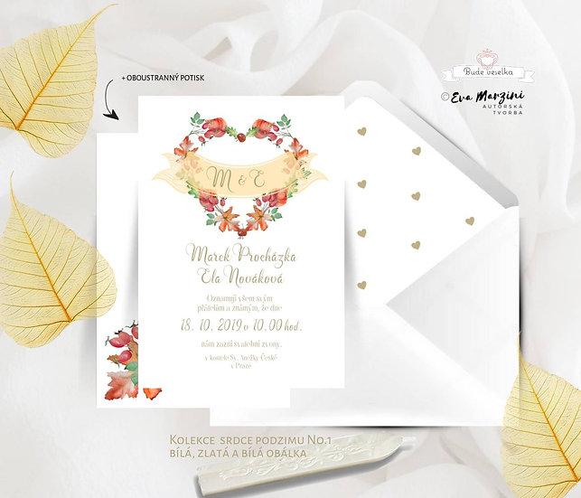 Svatební oznámení Srdce podzimu se srdcem z listů v bílé ve stylu vintage, či rustik