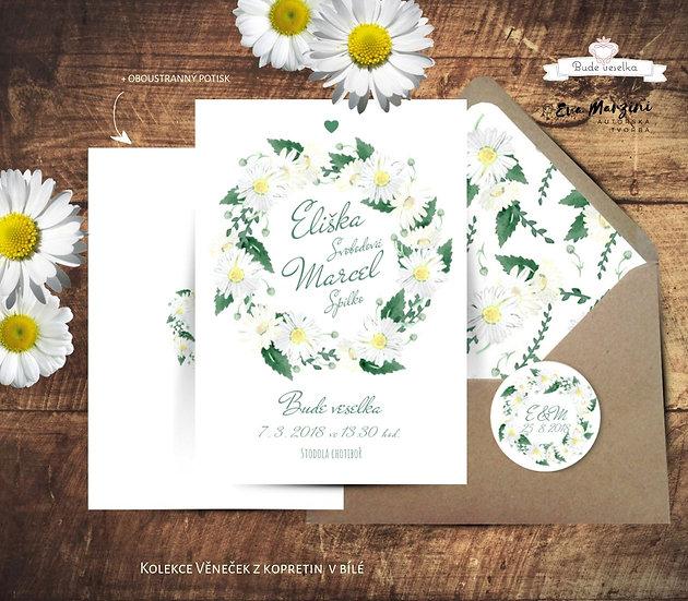 Svatební oznámení Věneček z kopretin, v bílé - 120x170 - tištěné