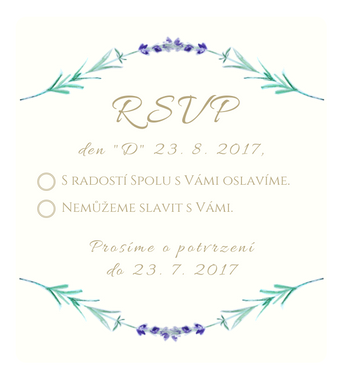 Svatební pozvánky RSVP Levandule No.1 - vanila, 90x100mm tiš