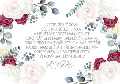 Kartičky na dary Burgundy Grace Kelly- bílé, 75x105 mm
