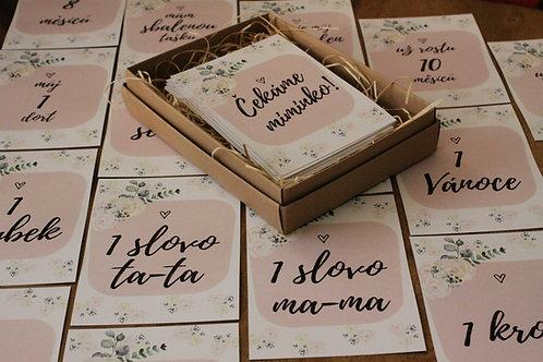 Milníkové kartičky - Grace (holčička/y) růžové s květinovým motivem