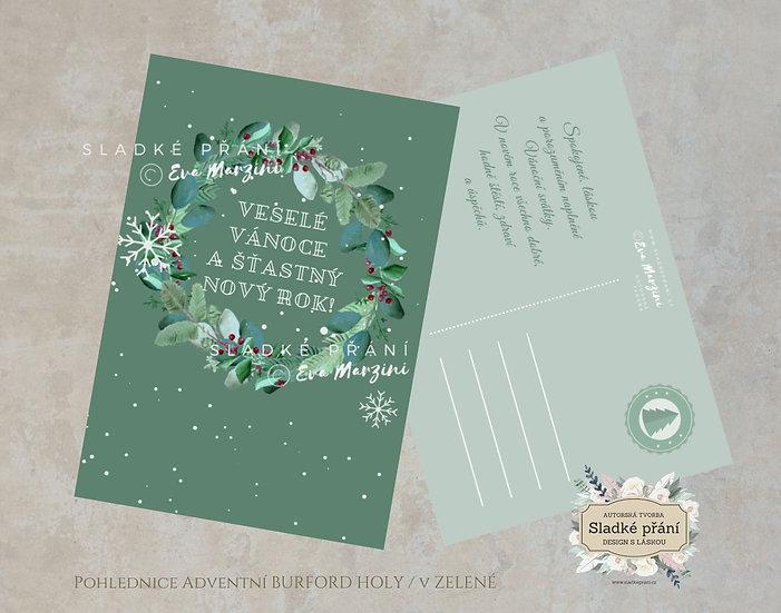 Vánoční pohled Adventní Burford holy, v zelené - 120x170 - tištěné