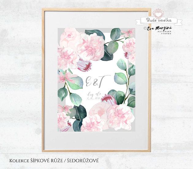 Obraz na památku Šípkové růže, šedá na bílé