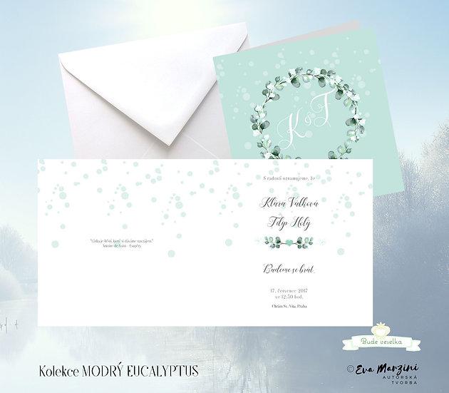 Otevírací svatební oznámení v mátové s věnečkem eucalyptu a nevěstiným závojem ve stylu vintage boho