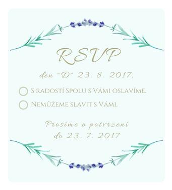 Svatební pozvánky RSVP Levandule No.1 - mint, 90x100mm tiš