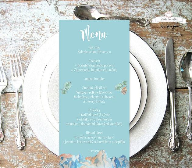 Svatební menu Hory v zimě, v modré, 99 mm x 210 mm tištěné
